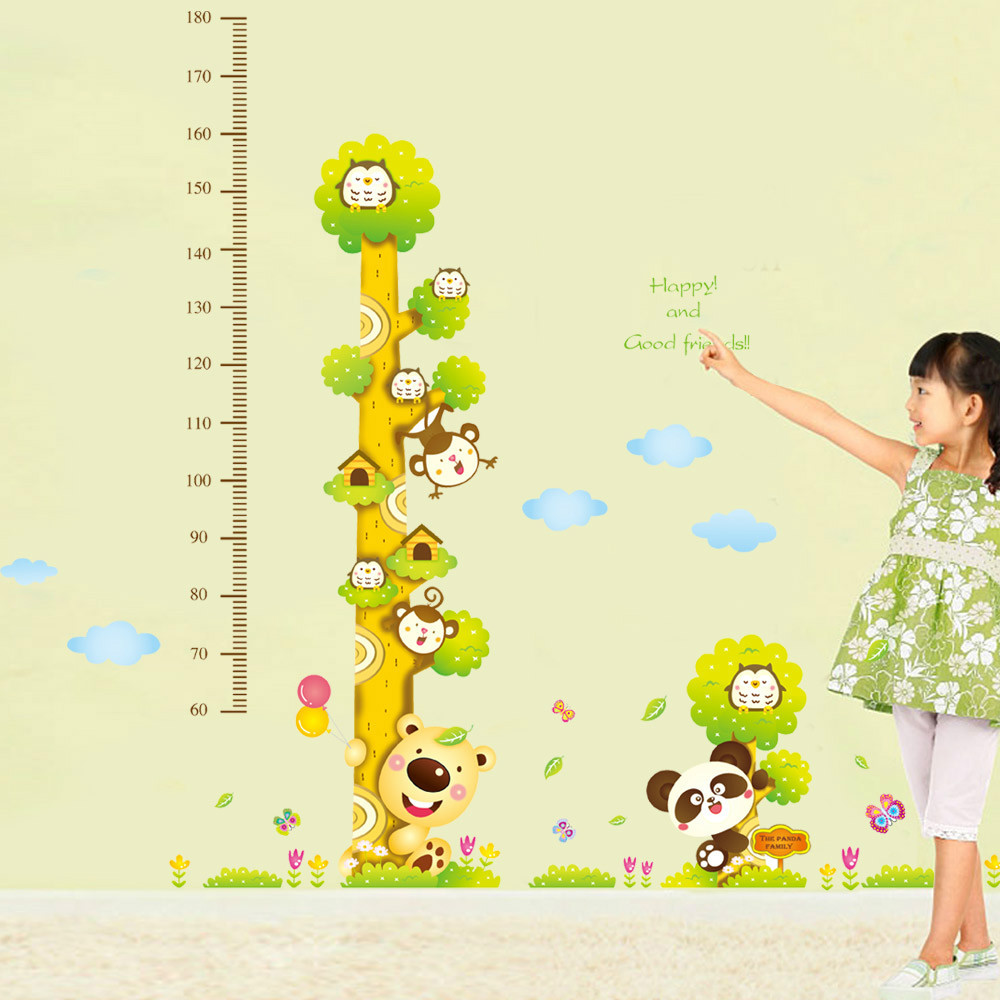 Free Shipping 170*180cm Forest Animals Height Chart Wall Decal ...