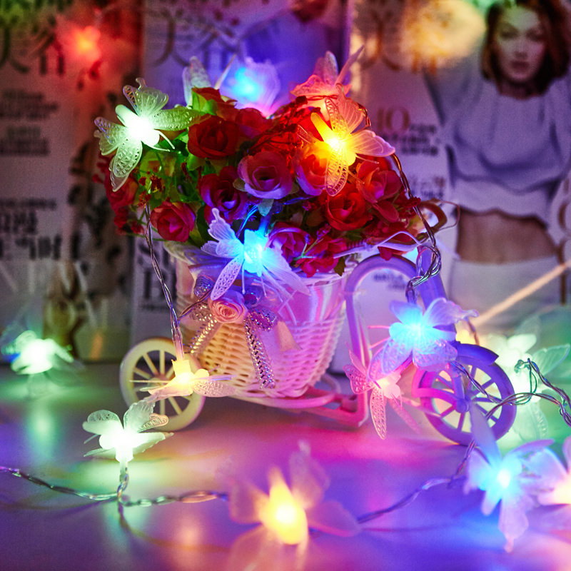 2m 3m 4m 5m 10m Battery Operated Christmas Garland Lights Navidad 3D Butterfly LED String Fairy Lights Guirlande Lumineuse Led in Lighting Strings from Lights Lighting