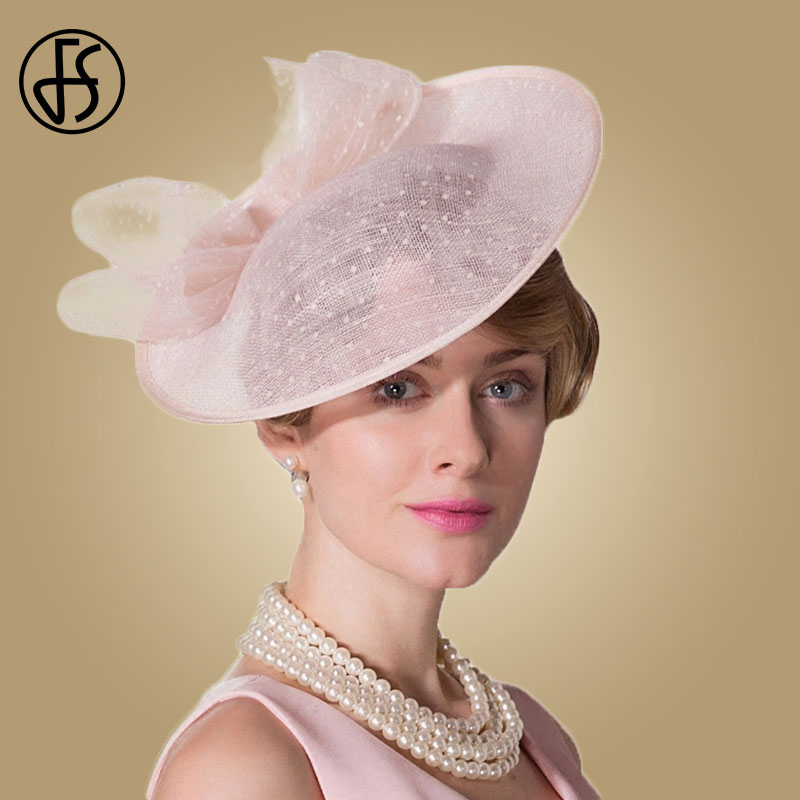 FS Fascinators Royal Wedding Hat For Women Elegant Lady Pink Black Linen Bowknot Vintage Fedora Pillbox Hats Paty Cocktail Cap