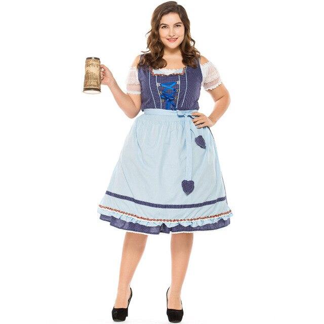 b05e2ca19241a Umorden Cotton High Quality Oktoberfest Costume Women German Bavarian Beer  Maid Cosplay Blue Plaid Fantasia Dress Plus Size XXXL
