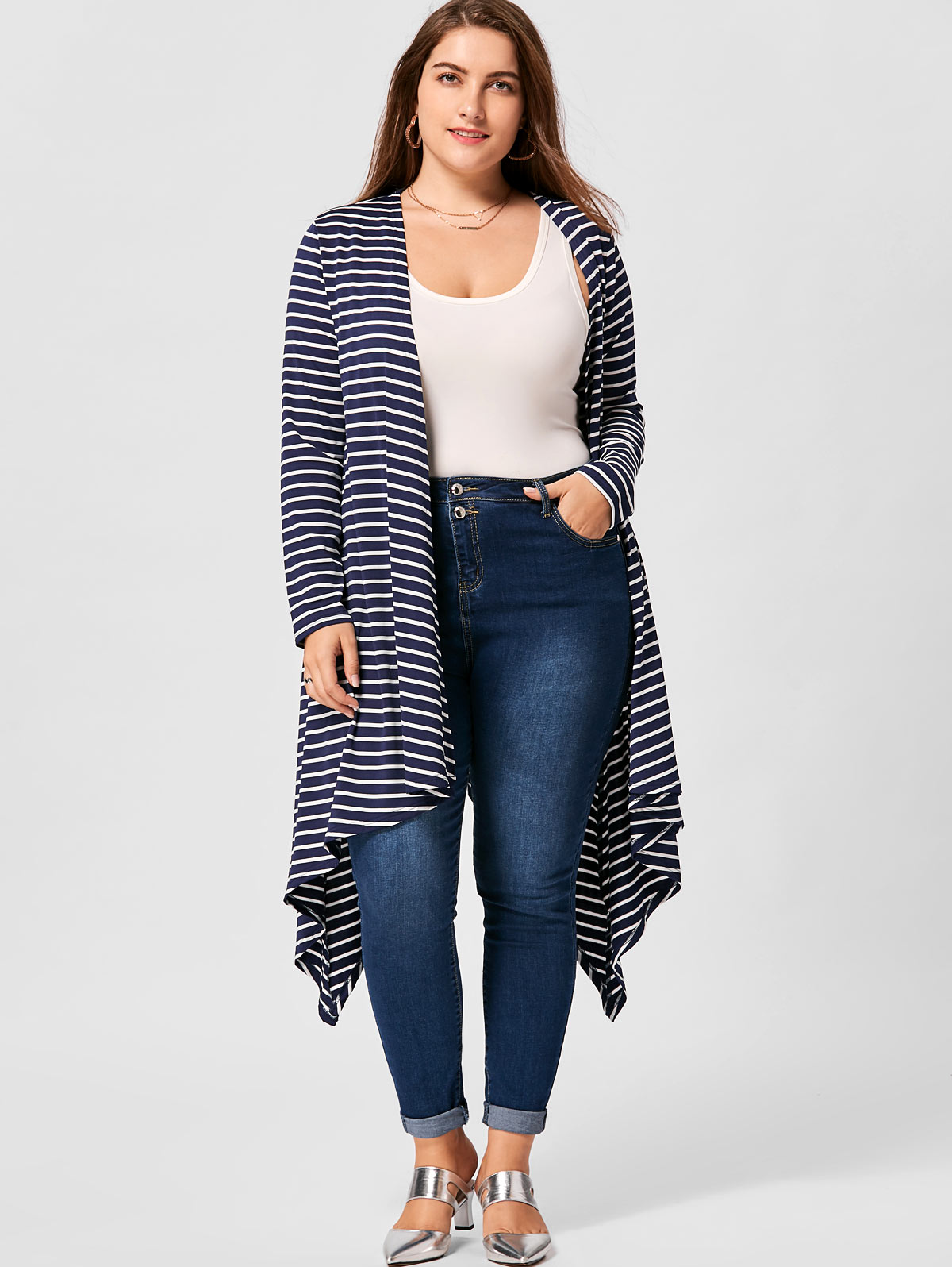 f3a745ca284 GAMISS Plus Size XL-5XL Striped Handkerchief Hem Cardigan Women Autumn  Casual Long Sleeve Top Open Front Cardigan Sweater Coat