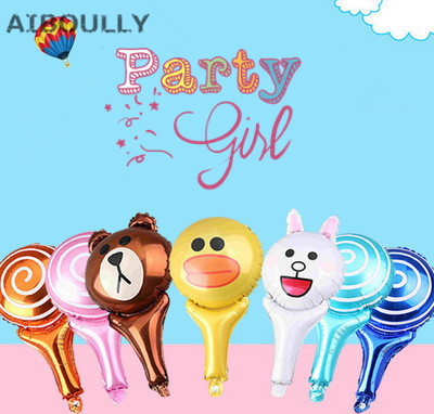 10pcs Birthday balloons hand hold stick balloon with samll bell balloon for party Decoration balloons inflatable air Balls