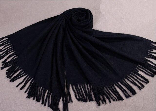 Высокая Мода Черный Женщины Искусственного Кашемировые Шали Шарфы Унисекс Зима Толстая Wrap Китайский Пашмины хиджаб Чал 180x69 cm