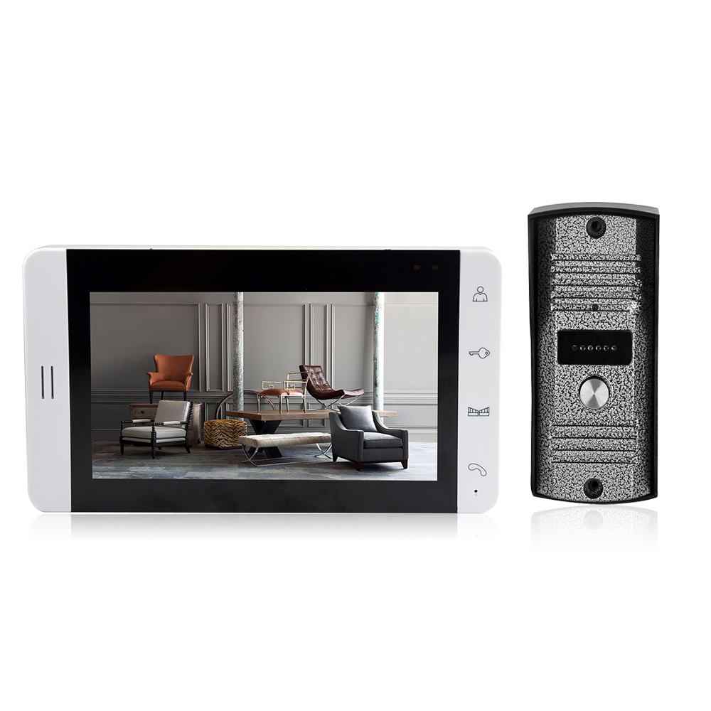 Video Intercom 7-inch LCD Screen Monitor Color Video Door Viewer Door Bell Touch Button Monitor IR Night Vision Camera Door Bell
