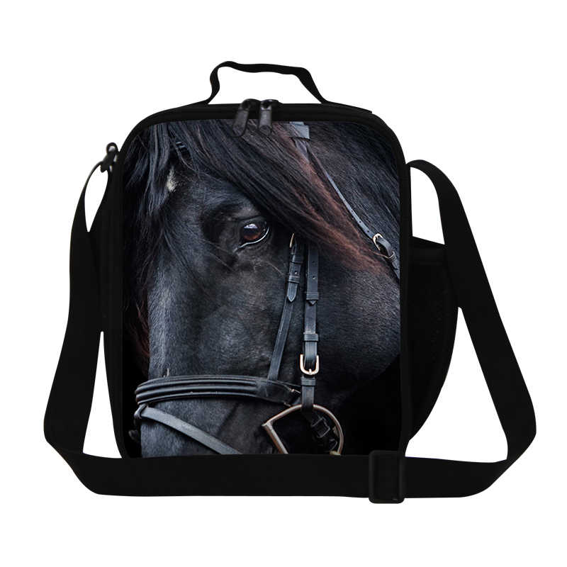 Black Horse Printing Lunch Bags For Children Students Picnic Food Bag Animal Thermal Lunch Box Insulated Bolsa Termica Lunchbag