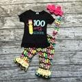 2016 новый горячий детские девушки лето бутик карандаш печати оборками капри обратно в школу наряды с соответствующими ожерелье и лук