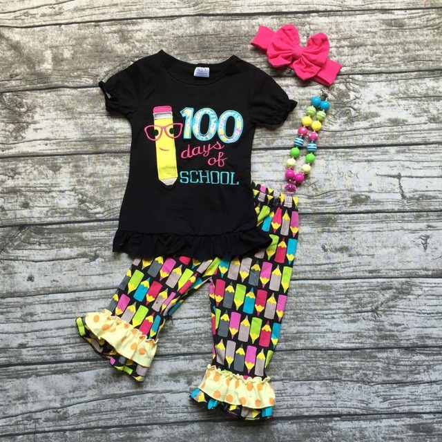 2016 new hot baby girls  summer boutique pencil print ruffles capri back to school outfits with matching necklace and bow