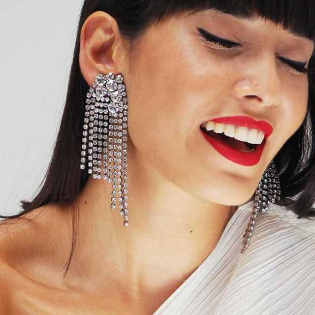 Lwong Luxury Clean Crystal Zircon Tel Earrings For Women Baroque Statement Large Bridal Wedding