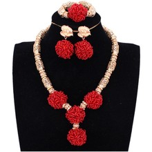 African Women Necklace Beads Big Balls Red Gold African Jewelry Sets Braid Wedding Jewellery Set Bridal Jewelry Nigerian Beads 2016 gorgeous red african wedding beads jewelry set luxury nigerian bridal jewelry set crystal necklace set free shipping alj353