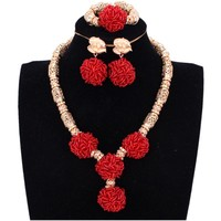 African Women Necklace Beads Big Balls Red Gold African Jewelry Sets Braid Wedding Jewellery Set Bridal Jewelry Nigerian Beads