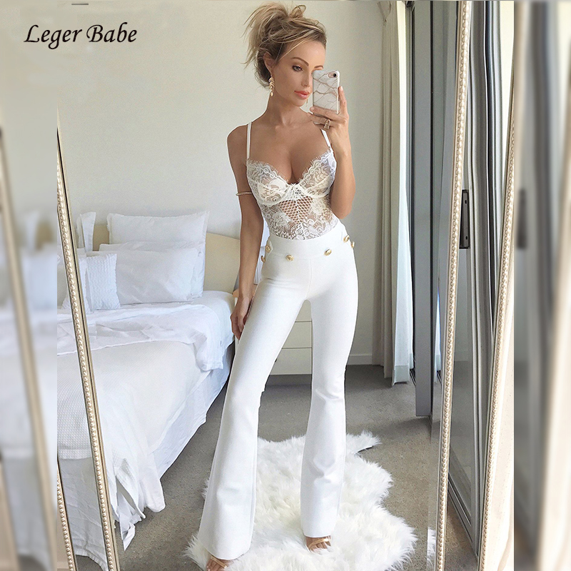 Leger Babe New White Bandage Pants Elegant Button Studded Long Pants Women Flare Bodycon Party Casual Office Work Wear Outfits
