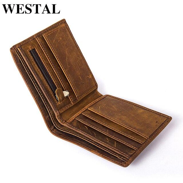 5c2aaa7433fe WESTAL male wallet genuine leather men s wallet vintage bag Male credit  card holder Genuine Leather Coin