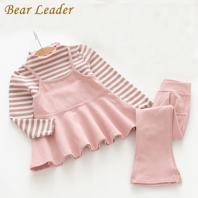 Bear Leader Girls Clothing Dresses Sets 2018 New Spring Girls Clothes Long Sleeve Casual Striped Sweatshirts+Pants 2Pcs Suits bear leader 2016 spring