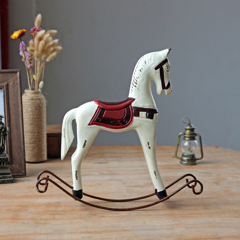 1PC Zakka Wooden Horse Crafts Ornaments Home Furnishing Creative Office Desktop Home Decoration Wood Craft EJL 030