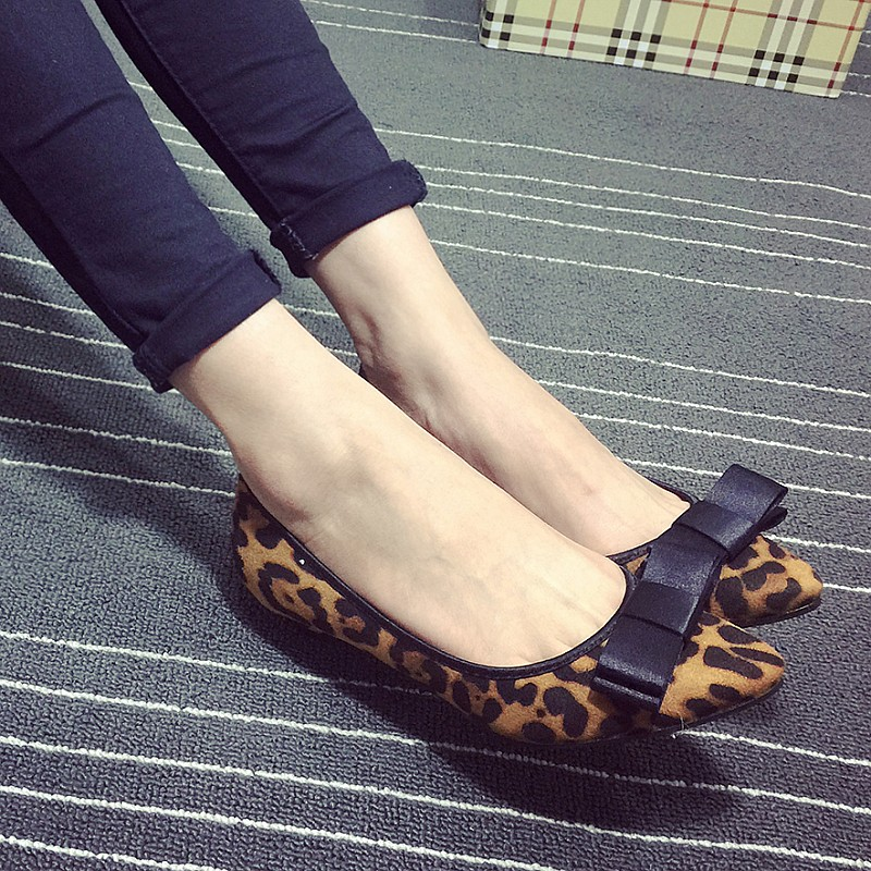 Fashion Sexy Leopard Women's Pumps Spring Autumn Flock Pointed Toe Bowtie Slip On Ladies Pumps Single Shoes Zapatos Mujer sweet women high quality bowtie pointed toe flock flat shoes women casual summer ladies slip on casual zapatos mujer bt123