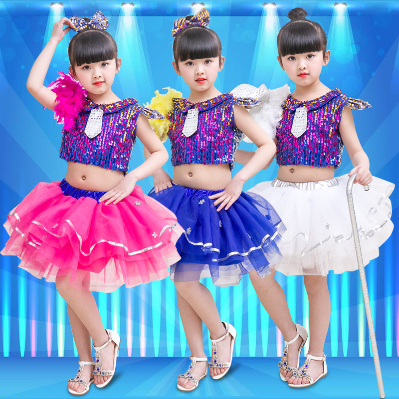 Girls Performance Dress Children's sequins Dance Stage Performing Dress Princess bubble Skirt Modern Dance Jazz costume  JQ-065