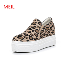 Women Loafer Wedge Sneakers Leopard Platform Shoes 2019 Korean Style Canvas Height Increasing Wedges Woman