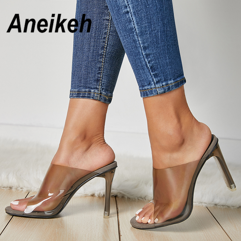 Aneikeh 2019 Summer Hot Transparent PVC Women Sandals Open Toe Clear  Crystal High Heels Slip On 3109d58cab06