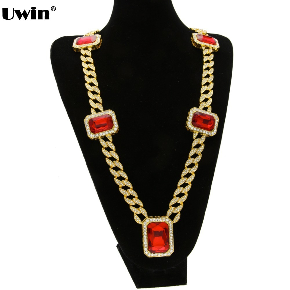 Mens Fashionable Gold&Silver Plated Iced Out Cuban Link Hiphop Chain Red Stone Pendant Unisex Miami Bling Bling Chain Necklace 7 rose gold black color unique new cuban link chain design cool mens jewlery hiphop rock wide cuban link chain bracelet bangle