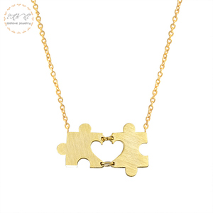 Gold Color Puzzle Piece Pendants & Necklaces For Women Girlfriend Gift Stainless Steel Chain Choker Fashion Jewelry Bijoux Femme