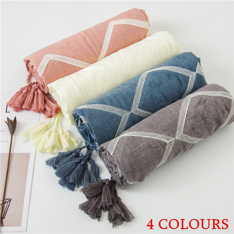 Womens super size pure cotton tassel scarf Pure color Summer pure color sunscreen diamond pattern large