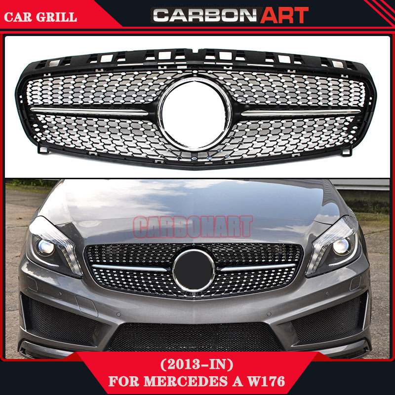 Diamond Grille For Mercedes A Class W176 Glossy Black With Emblem Badge ABS Replacement 2013 2014 2015 A180 A260 A200 tms320f28335 tms320f28335ptpq lqfp 176
