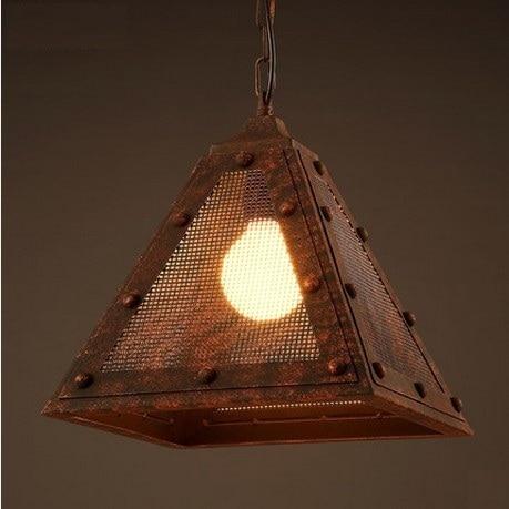 Retro Creative Triangle Net Rust Color LED Pendant Light Fixture ...