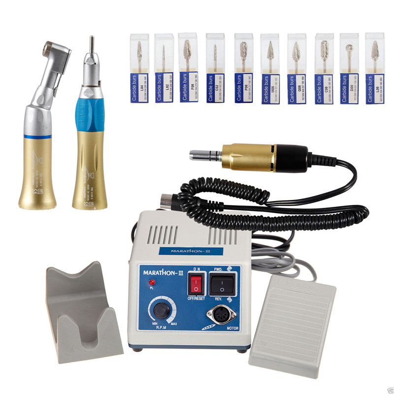 Dental Lab Marathon 35K Rpm Electric Micromotor Contra Straight Handpieces +10*Drill Burs Gold