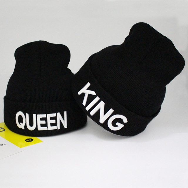b690083450bed Winter Wool Brand Hats For Women Men Knitted Beanie Hat Cap For girls Female  and Male Skullies Couple KING QUEEN Stocking Hats