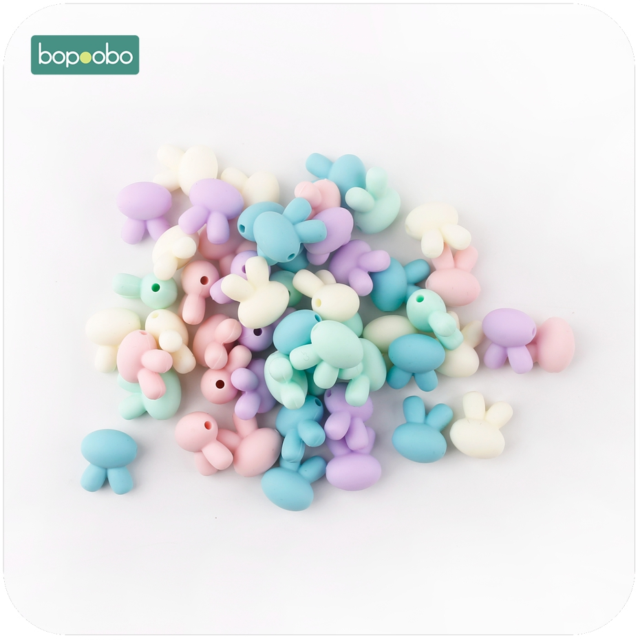 Bopoobo 10pc Baby Accessories Silicone Lovely Rabbit Shape Silicone Beads DIY Crafts Baby Shower Gift  Food Grade Materials