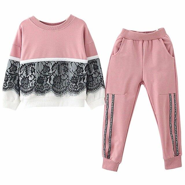 e57ebc73e9f Autumn 2018 Winter Children Clothing Set Teenage Kids Clothes Girls TShirt+Pants  Sport Suit For