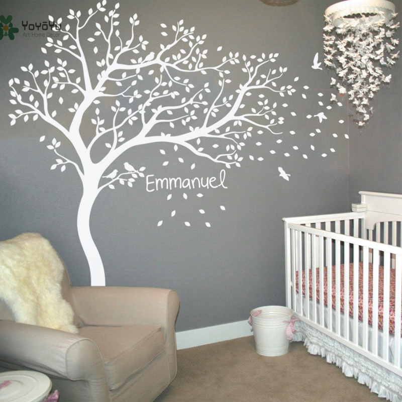 Wall Decal Vinyl Sticker Nursery Large White Tree Bird Custom Any Name And Color Kids Bedroom Decoration Removable Mural WW-344
