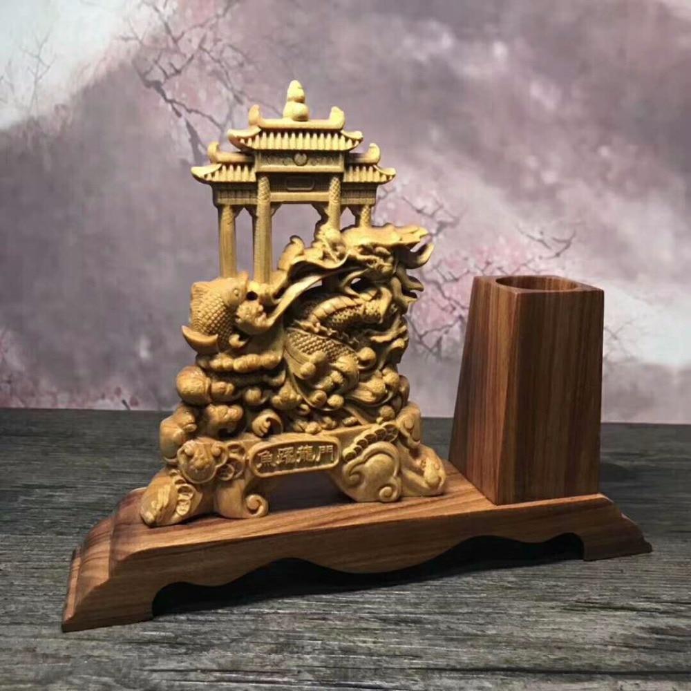 Magnifique sculpture sur bois arborvitae maison de ville chanceuse de décoration d'ameublement bureau ornements chinois. - 3