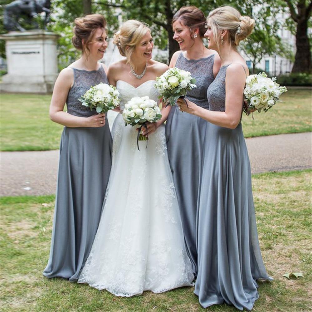Sliver Elastic Satin   Bridesmaid     Dress   A Line Floor Length Lace Top Elegant Long Wedding Guest   Dress   2019 Custom Made Women Gown