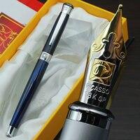 Gratis verzending groothandel school kantoorbenodigdheden pen Picasso Luxe blauw & zilver M penpunt vulpen hoge kwaliteit schrijfpen