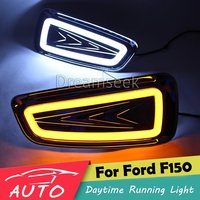 DRL For Ford F150 Pickup 2010 2011 2012 2013 2014 LED Car Daytime Running Light Fog Day Lamp Daylight With Turn Signal