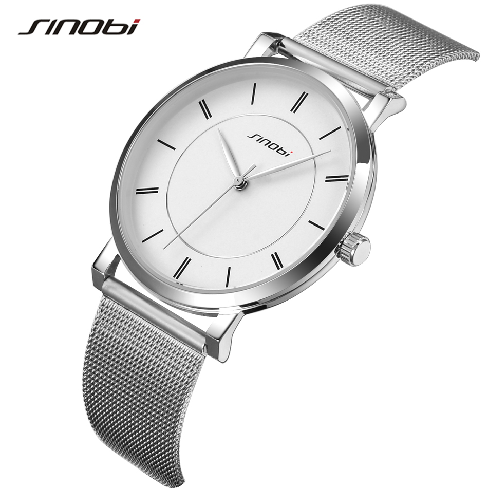 Fashion Top Luxury Brand SINOBI Watches Men Stainless Steel Mesh Strap Quartz-Watch Ultra Thin Dial Clock man relogio masculino new fashion brand round dial black couple watch men luxury stainless steel casual quartz watches relogio masculino clock hot