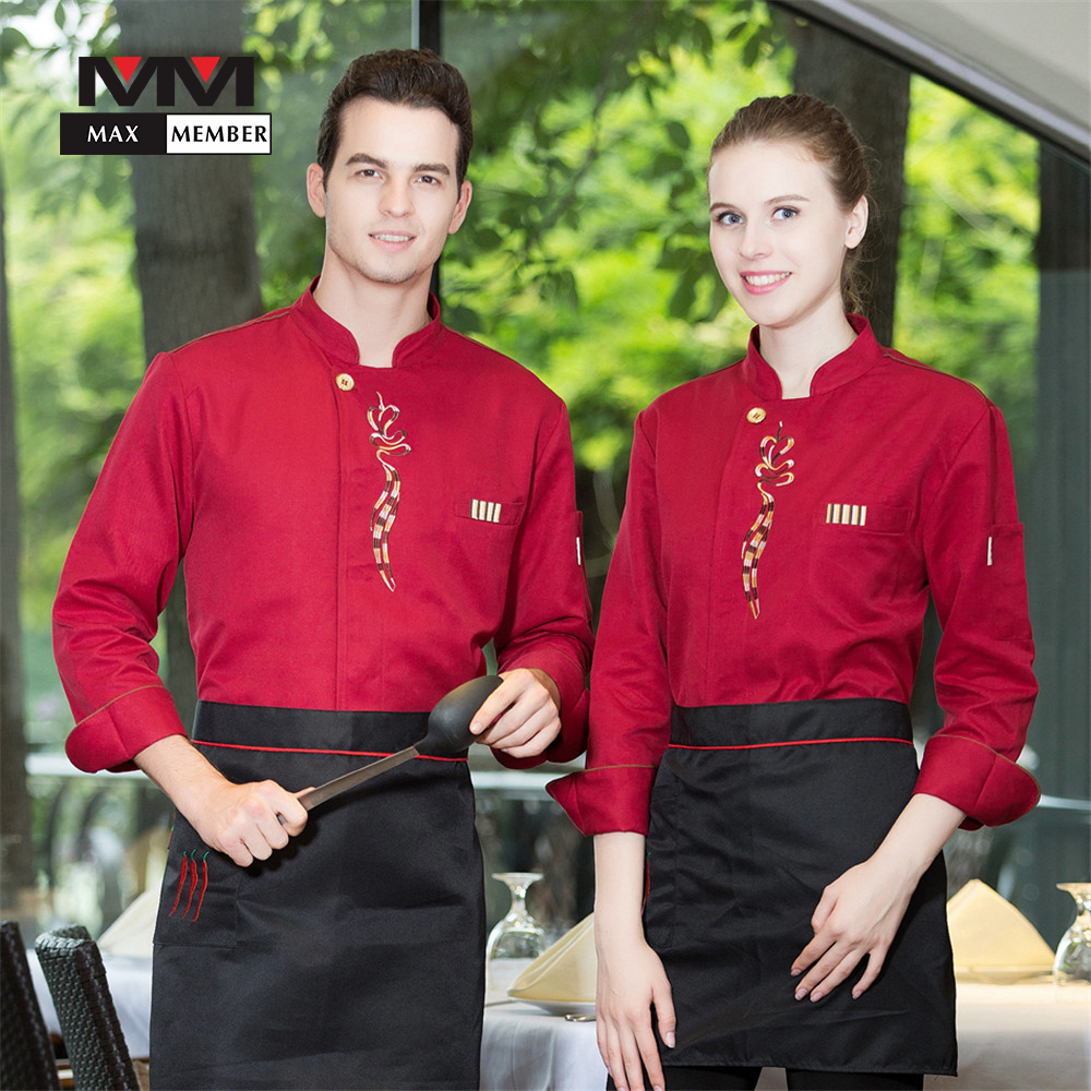 M-3XL Unisex Single Breasted Embroidery Floral Chef Work Jackets Pocket Long Sleeve Hotel Kitchen Cooking Wear Uniforms Clothes