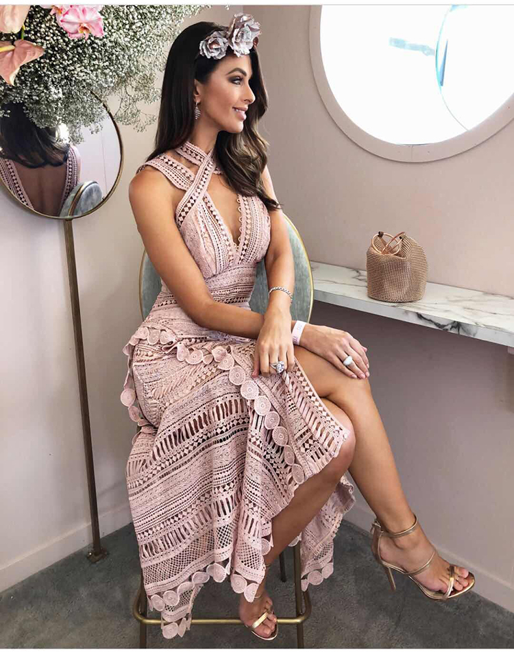 2019 spring new arrive halter pink dress irregular sweet backless lace dresses midi women party dress