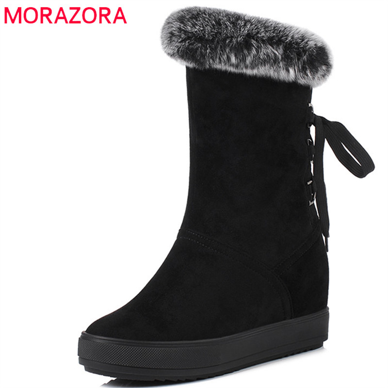 955a7e298f8b1 Chaussures forme Plate Cheville Femme 2019 De blanc Bout Bottes D hiver  Neige Confortable Femmes Noir ...
