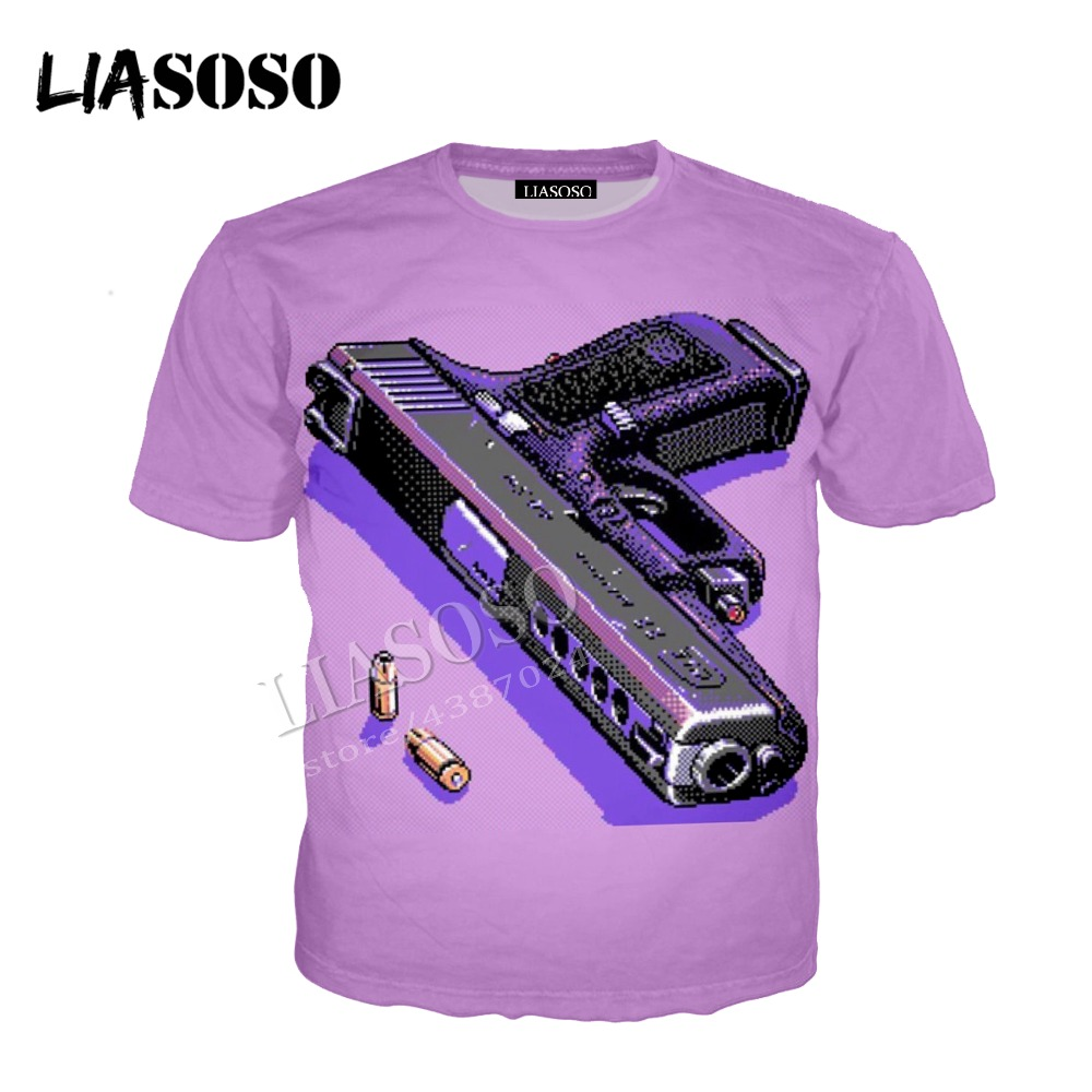 LIASOSO latest 3D printed comfortable polyester zipper hoodie pixel art pink cute pistol Gothic men and women sportswear CX516