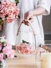 Nordic Glass Flower Vase Wall Hanging Decorative Vases Wedding Home Portable Handmade DIY Planter