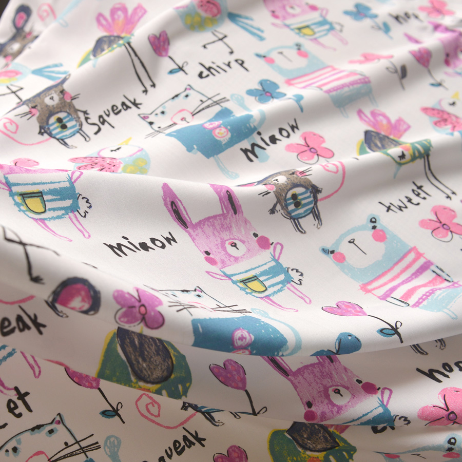 Baby bed sheet pattern - New Arrival Printed Cartoon Silk Cotton Fabrics High Grade Summer Baby Bed Sheet Fabric Clothing