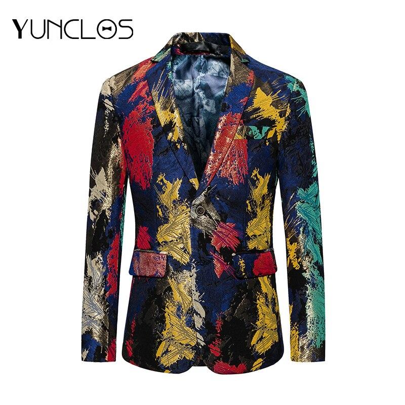 YUNCLOS 2019 Mode herren Gedruckt Blazer Hochzeit Party Anzug Jacken Slim Fit Schal Kragen Blazer Jacken blazer masculino-in Blazer aus Herrenbekleidung bei  Gruppe 1