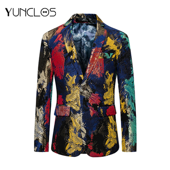 YUNCLOS  New Male Blazers Cool Party Jackets Men Color Printing Single Breasted Outwears Casual Slim Fit Blazer Men For Chri