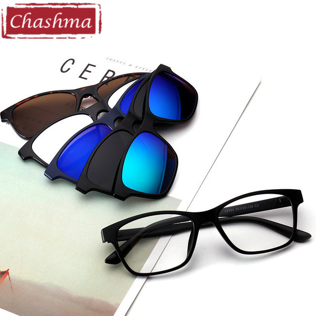Chashma Brand Sunglasses Women and Men Optical Glasses Frame with 5 Pieces Clips Sun Eyeglass Polarized Lenses Magnetic Glasses