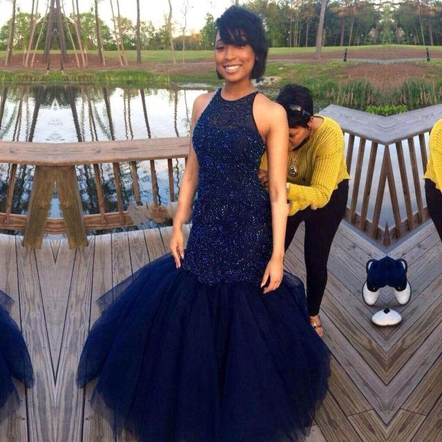African Long Puffy Sparkly Prom Dresses Navy Blue Beading Mermaid