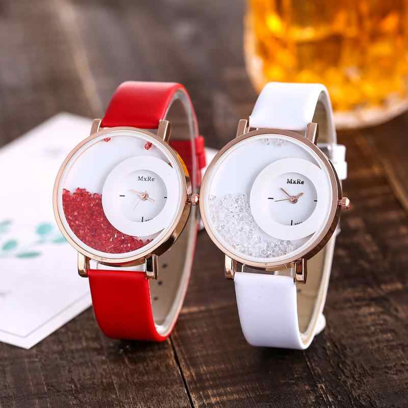 dbee550c8 Detail Feedback Questions about Woman Fashion Leather Band Analog Quartz  Round Wrist Watch Watches Rose Gold Girls Gold ladies Hot Sale Flowers  Wristwatches ...
