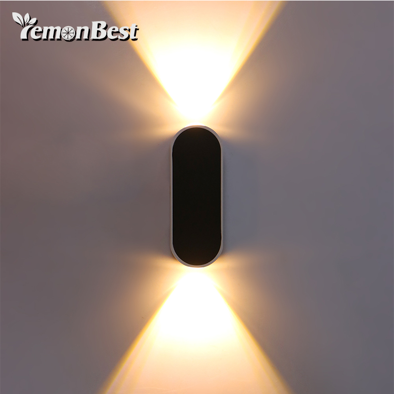 Left And Right Double LED 6W Wall Lamp Upper And Lower Wall Lamp Indoor AC 85-265V Indoor Outdoor Decorative Lighting black led wall light waterproof ip65 stainless steel up down gu10 double wall lamp indoor outdoor wall lamp ac 85 265v