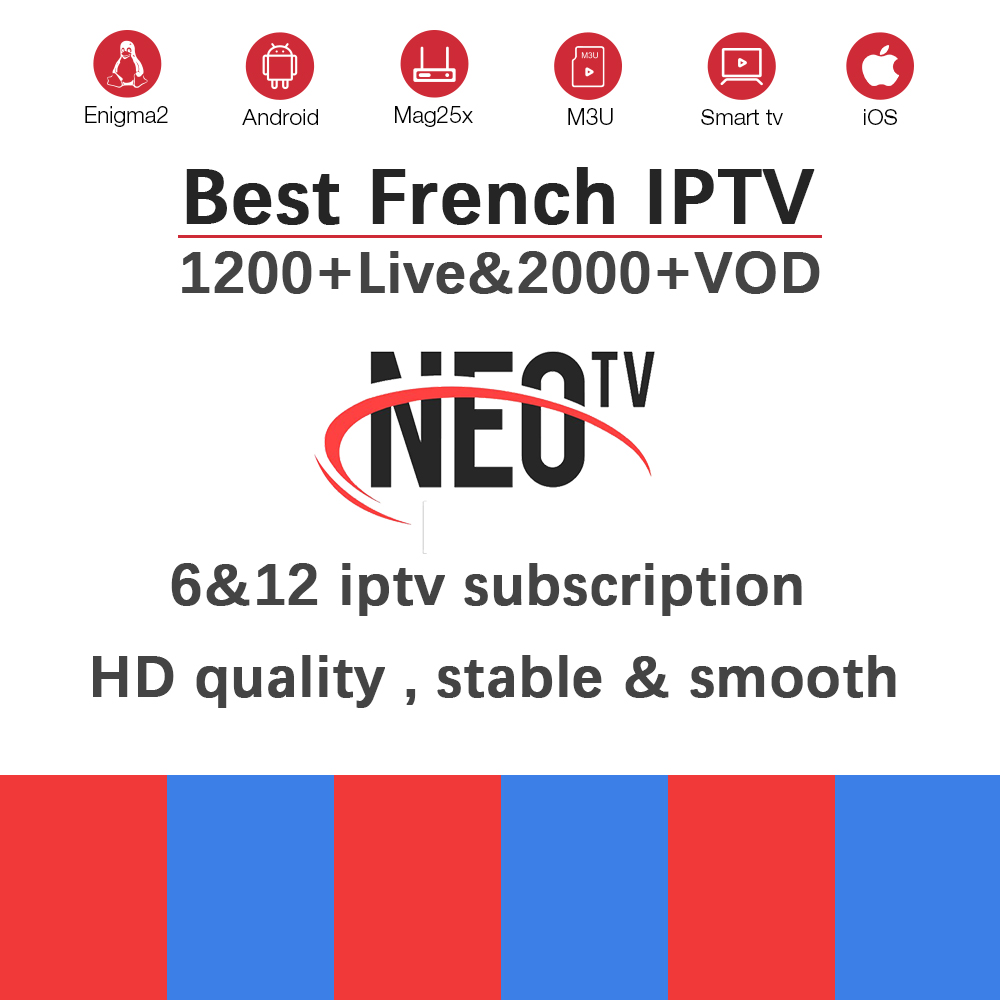 French NEOtv Pro Iptv Subscription+1200 Live&VOD Europe Arabic IPTV France Abonnement Belgium For Android TV Box Smart TV Box